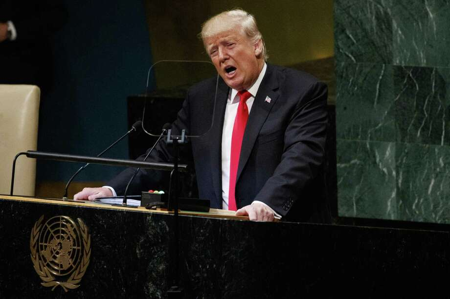 President Donald Trump delivers a speech to the United Nations General Assembly, Tuesday, Sept. 25, 2018, at U.N. Headquarters. (AP Photo/Evan Vucci) Photo: Evan Vucci /Associated Press / Copyright 2018 The Associated Press. All rights reserved.