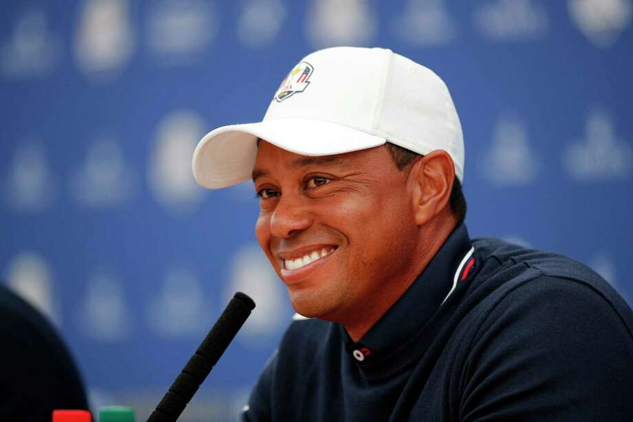 Tiger Woods of the US answers questions during a press conference as part of the 2018 Ryder Cup at Le Golf National in Saint-Quentin-en-Yvelines, outside Paris, France, Tuesday, Sept. 25, 2018. The 42nd Ryder Cup will be held in France from Sept. 28-30, 2018 at Le Golf National. (AP Photo/Francois Mori) Photo: Francois Mori / Copyright 2018 The Associated Press. All rights reserved