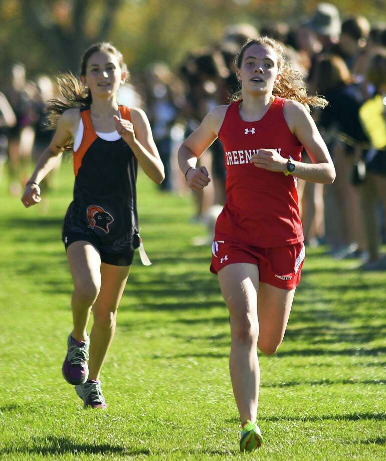 Greenwich senior Caroline Webb is one of the reasons the Greenwich girls cross country team is off to a 6-0 start. Photo: Matthew Brown / Hearst Connecticut Media / Stamford Advocate