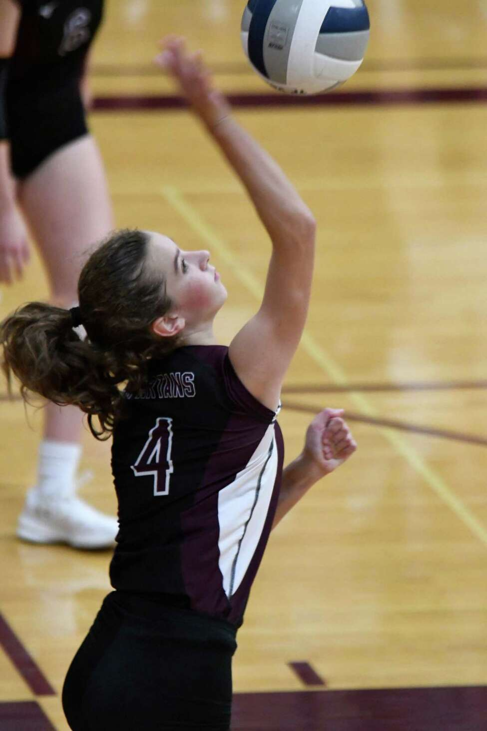 Burnt Hills's Claire Isaksen sets the ball during a game against Shenendehowa on Tuesday, Sept. 25, 2018, in Burnt Hills, N.Y. (Jenn March, Special to the Post-Star)