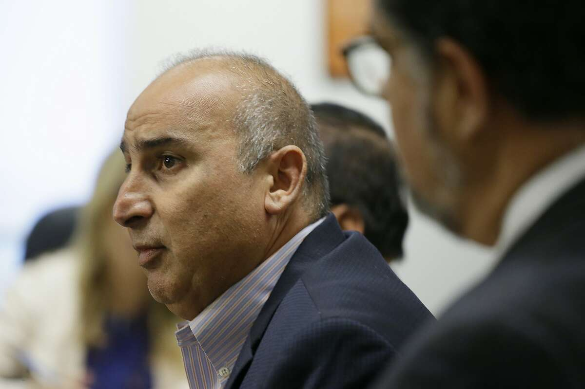 """Mark Zabaneh, executive director of the Transbay Joint Powers Authority, answers questions during a news conference about the closure of the Salesforce Transit Center Tuesday, Sept. 25, 2018, in San Francisco. San Francisco officials shut down the city's celebrated new $2.2 billion transit terminal Tuesday after discovering a crack in a support beam under the center's public roof garden. Coined the """"Grand Central of the West,"""" the Salesforce Transit Center opened in August near the heart of downtown after nearly a decade of construction. (AP Photo/Eric Risberg)"""