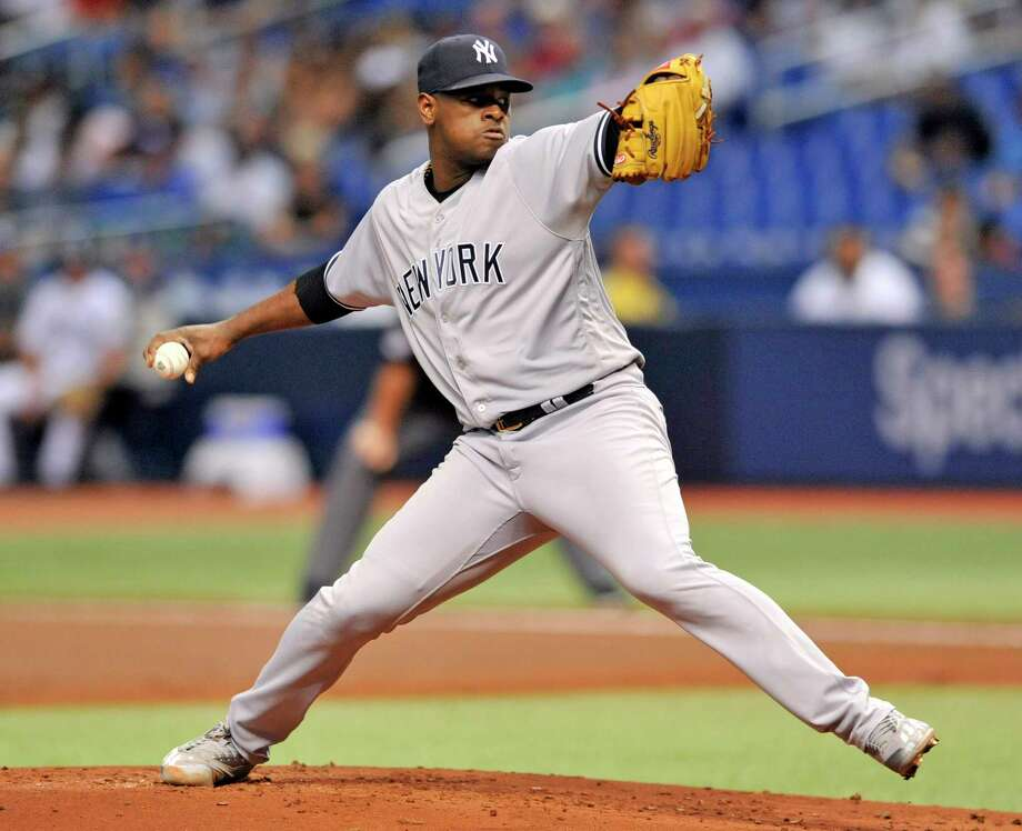 New York Yankees starter Luis Severino pitches against the Tampa Bay Rays during the first inning of a baseball game Tuesday, Sept. 25, 2018, in St. Petersburg, Fla. (AP Photo/Steve Nesius) Photo: Steve Nesius / Copyright 2018 The Associated Press. All rights reserved.