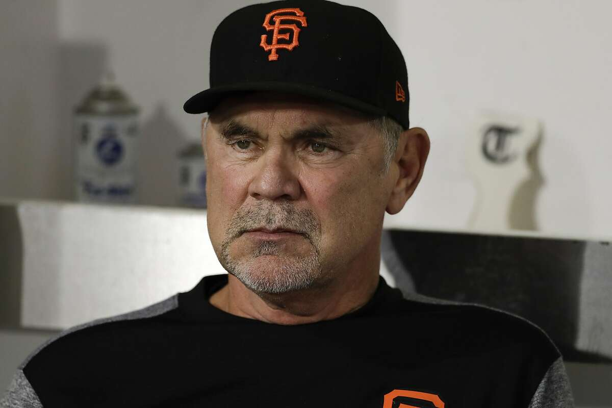 San Francisco Giants manager Bruce Bochy looks on before a baseball game against the San Diego Padres Monday, Sept. 17, 2018, in San Diego. (AP Photo/Gregory Bull)