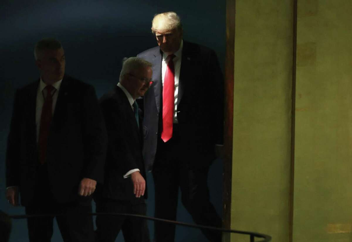NEW YORK, NY - SEPTEMBER 25: U.S. President Donald Trump arrives to address the 73rd session of the United Nations General Assembly on September 25, 2018 in New York City. The United Nations General Assembly, or UNGA, is expected to attract 84 heads of state and 44 heads of government in New York City for a week of speeches, talks and high level diplomacy concerning global issues. New York City is under tight security for the annual event with dozens of road closures and thousands of security officers patrolling city streets and waterways. (Photo by John Moore/Getty Images) ***BESTPIX***