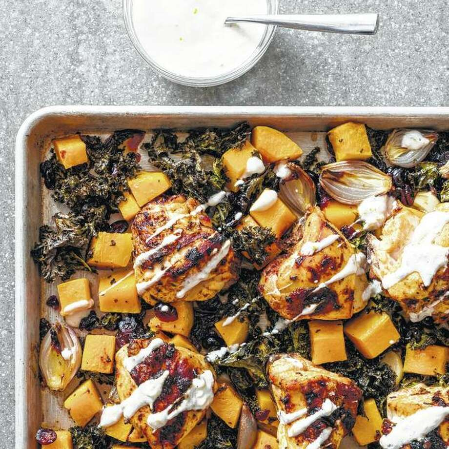 One-pan chicken with kale and butternut squash is quick, easy and involves minimal cleanup. Photo: Daniel J. Van Ackere | America's Test Kitchen Via AP