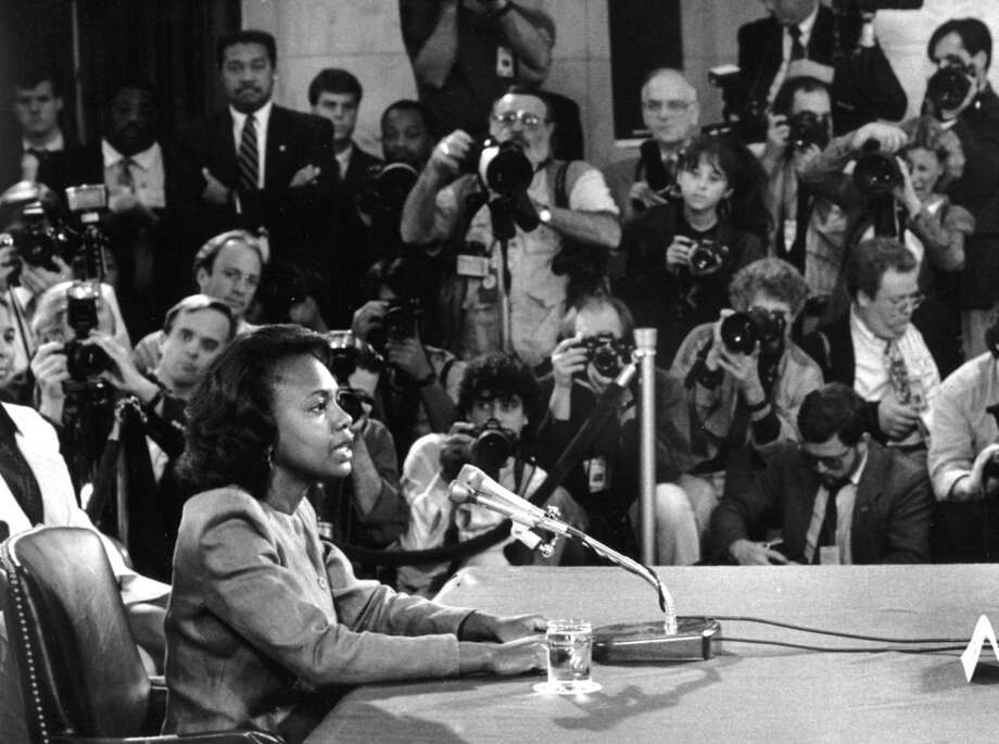 Anita Hill testifying before the Senate Judiciary Committee on Oct. 12, 1991. Photo: Washington Post Photo By Bill Snead. / The Washington Post