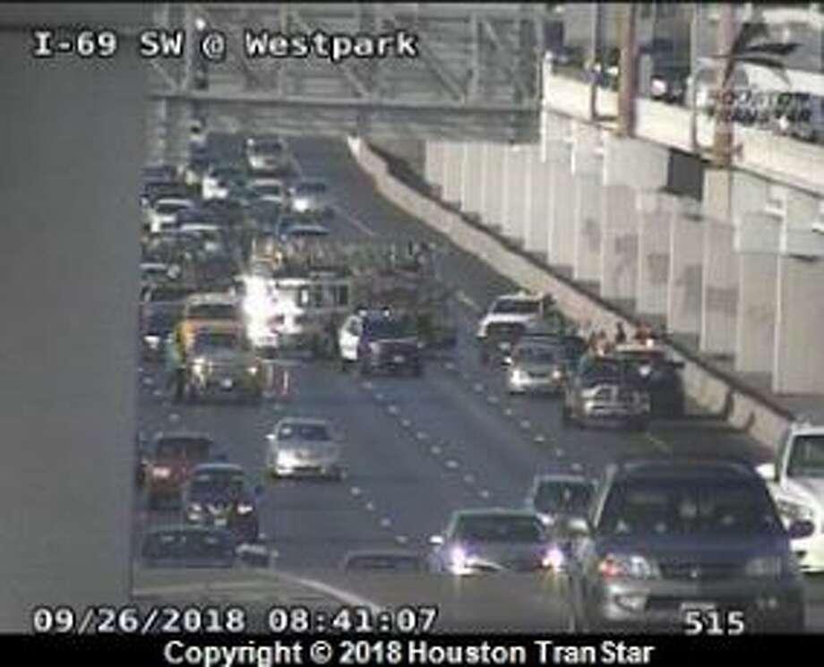 A crash on I-59 near Westpark has closed multiple lanes of traffic on Wednesday, Sept. 26, 2018. Photo: Houston TranStar