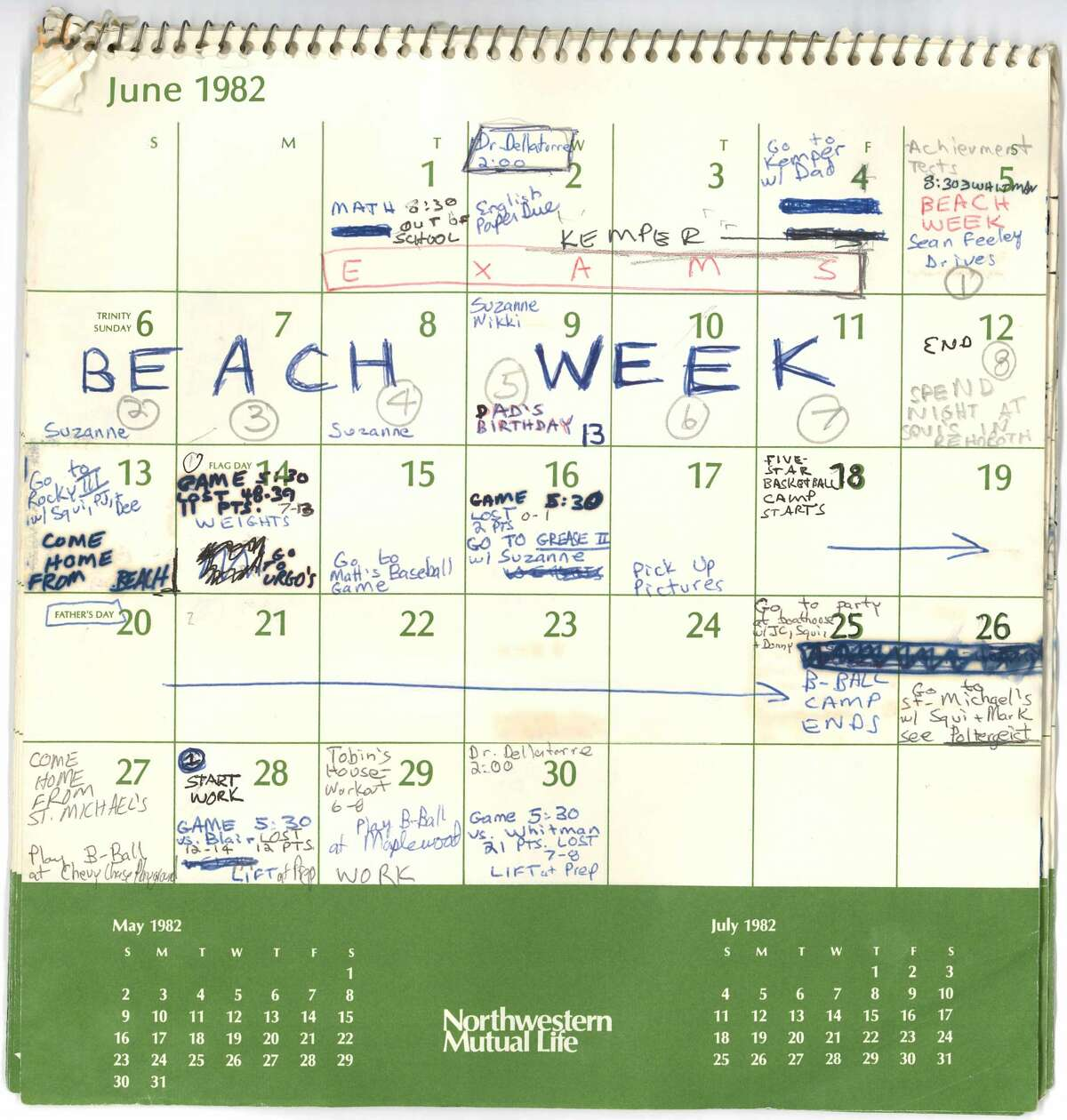 Judge Brett Kavanaugh has submitted a calendar he kept in the summer of 1982 as evidence in the Senate Judicial Committee's confirmation hearings.