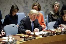 President Donald Trump chairs a United Nations Security Council meeting at the United Nations General Assembly, Wednesday, Sept. 26, 2018, at U.N. Headquarters.
