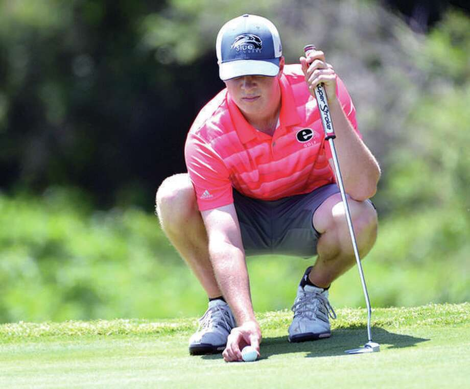 SIUE senior Kyle Slattery turned in the third-lowest 54-hole total in school history en route to his second consecutive tournament win, leading the Cougars to a win at the Derek Dolenc Invitational for the second year in row and the third time in four years. Photo: SIUE Athletics
