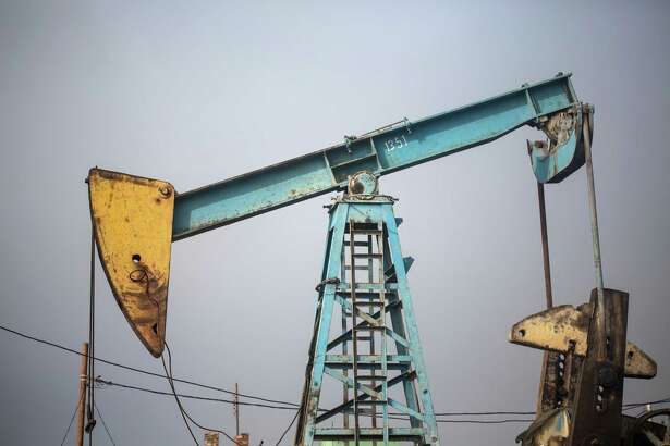 An oil pumpjack operates in Azerbaijan.