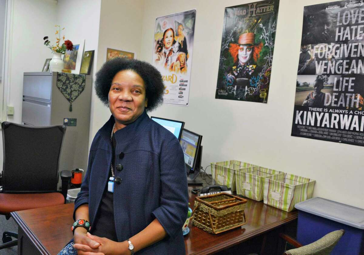Associate professor of criminal justice Frankie Bailey in her office on the UAlbany downtown campus in Albany Thursday Feb. 21, 2013. (John Carl D'Annibale / Times Union)