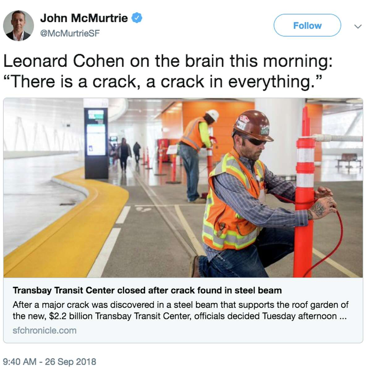 Online reaction to the closure of San Francisco's new Transbay Transit Center due to a cracked steal beam.