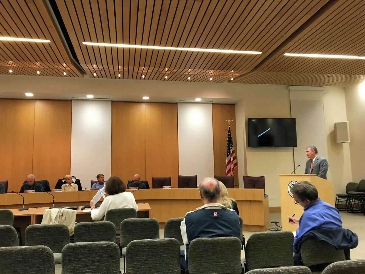 Superintendent of Schools Bryan Luizzi at a Planning and Zoning Commission meeting Sept. 25.
