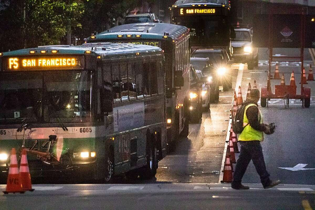 Buses head to the Temporary Transit Center from Fremont and Folsom streets on Wednesday, Sept. 26, 2018, in San Francisco, Calif.