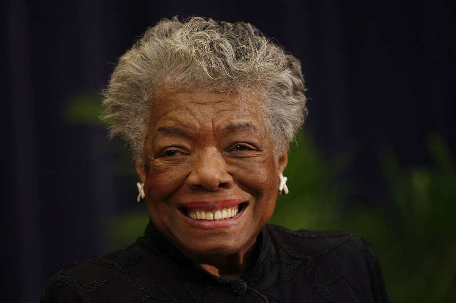FILE – In this Nov. 21, 2008 file photo, author Maya Angelou delivers a tribute to South African Archbishop Emeritus Desmond Tutu at the State Department in Washington.