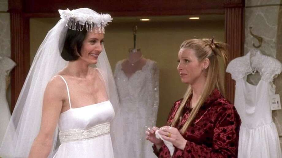 Monica Geller tries on wedding dress in an episode of Friends. Market Street will have a wedding-dress try-on station at its Friends Fest scheduled for Oct. 17.