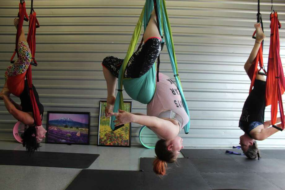 Yoga Trapeze Studio In The Woodlands Offers Upside Down Stretching Fun Houston Chronicle