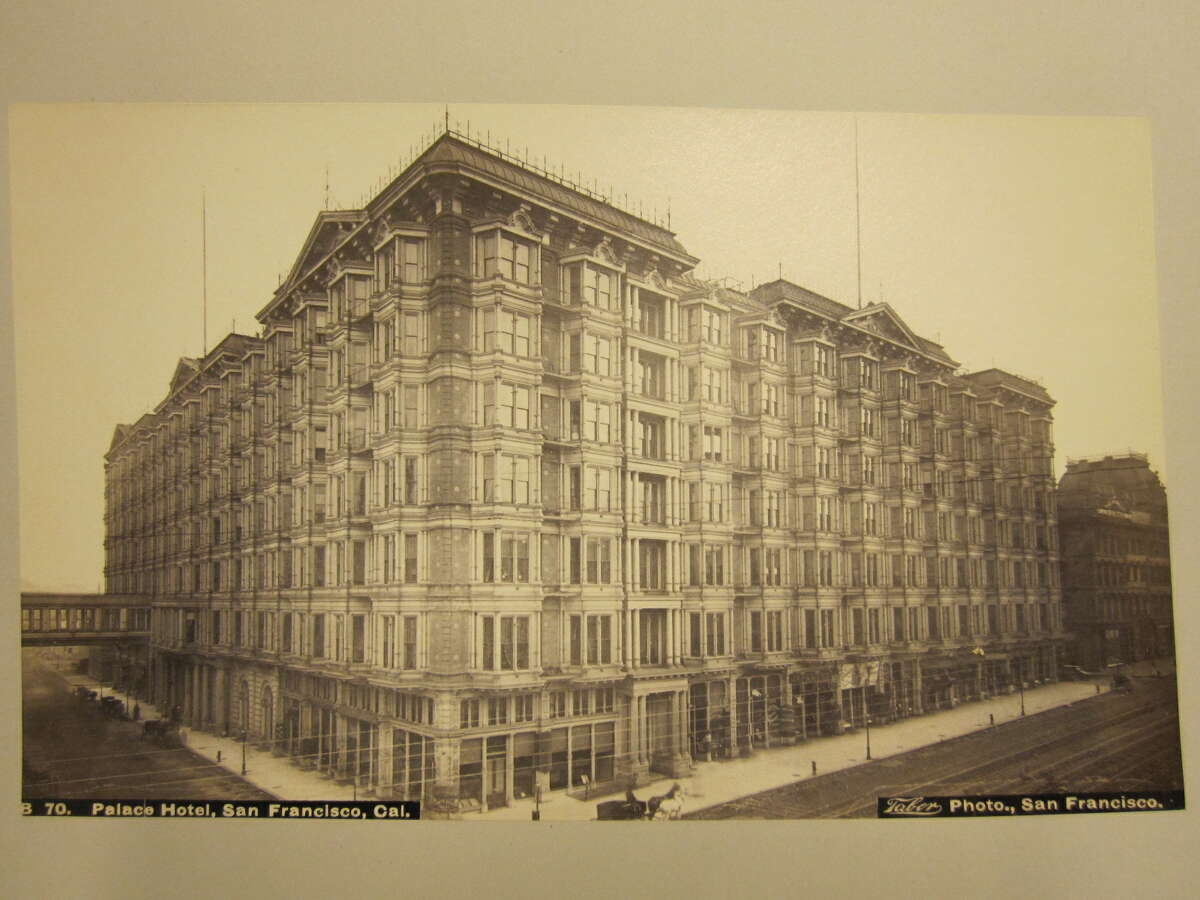 The outside of San Francisco's Palace Hotel, circa 1890. The Palace Hotel was destroyed in the 1906 fire and later rebuilt.
