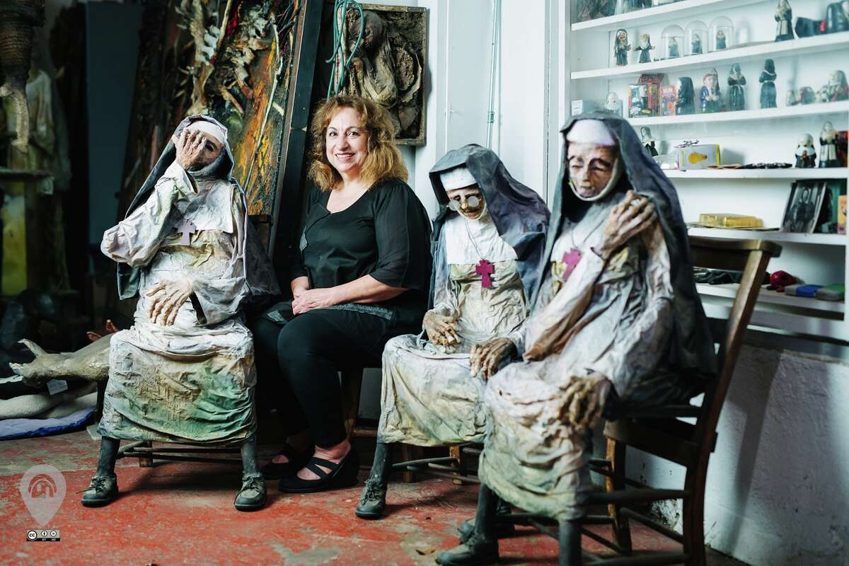 The Artist's Haven Houston artist Sharon Kopriva's studio and living space is filled with her haunting, mummy-like sculptures. For more than 30 yeas, her work has combined two- and three-dimensional media with paper-mache and other found objects, according to the Weird Homes Tour website.