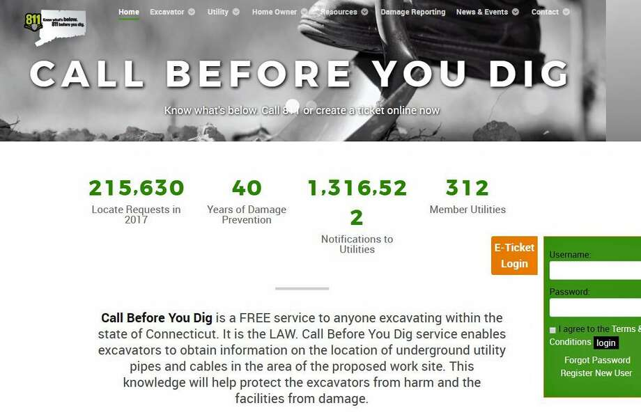 "Connecticut residents are encouraged to ""Call Before You Dig."" This is a screenshot of the service's website, which has additional information. Photo: Contributed Photo / Call Before You Dig"