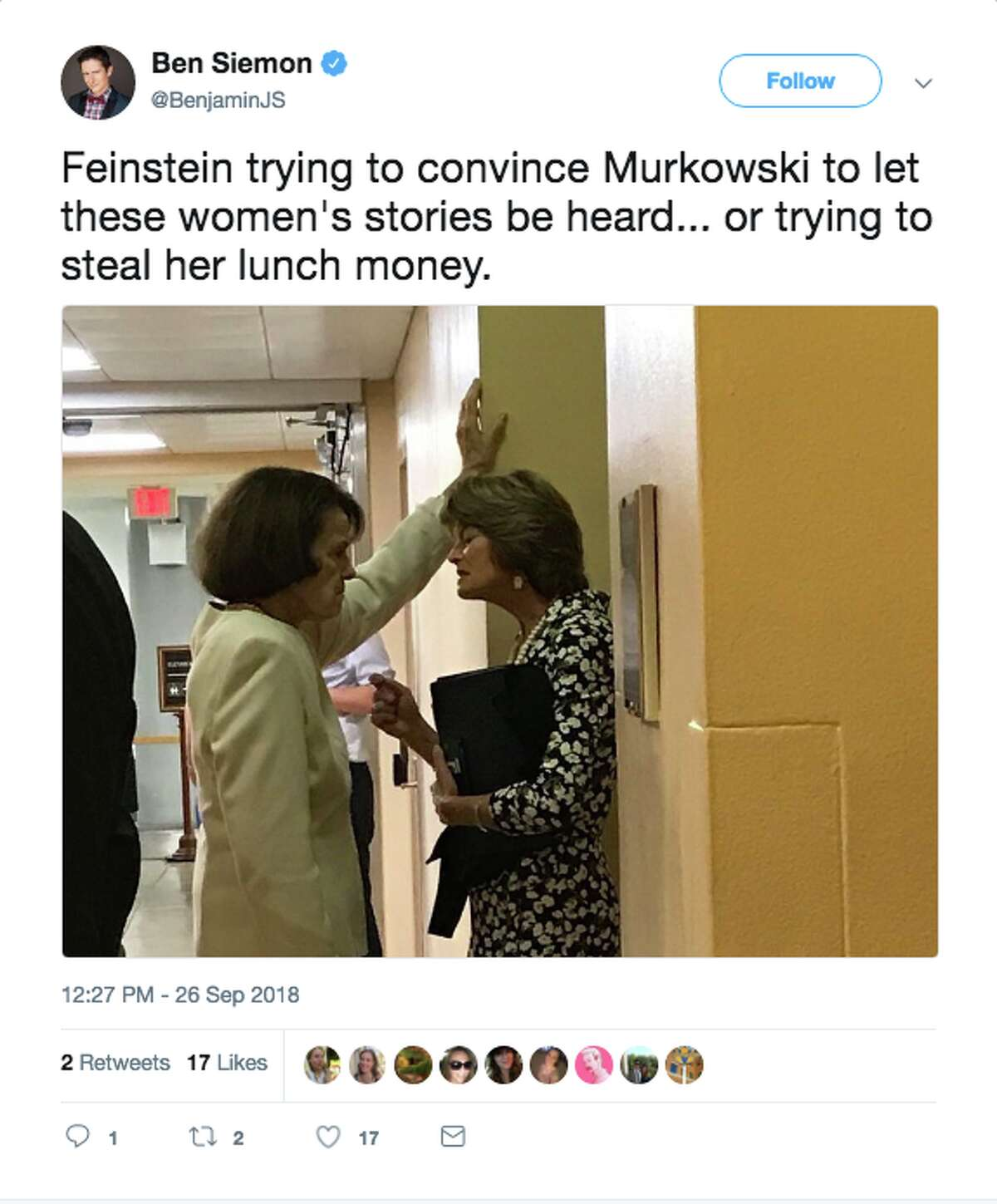 Twitter users speculate what Sen. Dianne Feinstein, D-Calif., and Sen. Lis Murkowski, R-Alaska, are discussing in a viral photo.