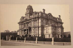 """The Crocker House on Nob Hill, circa 1890. The """"Big Four"""" mansion belonged to Charles and Mary Crocker and was destroyed in the 1906 earthquake and fire. Instead of rebuilding, the Crockers donated their Nob Hill block to Bishop William Nichols, who built Grace Cathedral on the land."""
