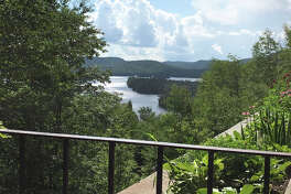 View of Blue Mountain Lake from Adirondack Experience.