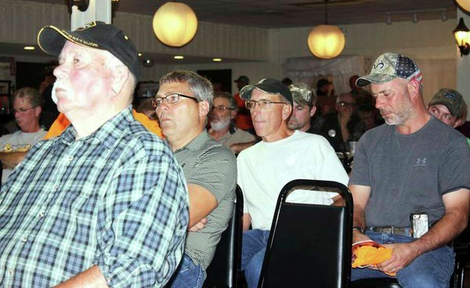 More than200 area hunters gathered at Ubly Heights Golf & Country Club on Tuesday for an informational session on proposed antler point restrictions for hunting whitetail deer inHuron, Tuscola, Sanilac, Lapeer and St. Clair counties.(Brenda Battel/Huron Daily Tribune)