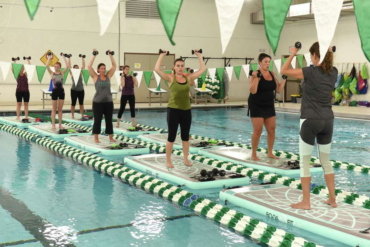Times Union writer Sara Tracey, third from right, takes a BOGA Fit class conducted by Jen Dickson at Duanesburg YMCA on Tuesday, Aug. 28, 2018 in Delanson, N.Y. (Lori Van Buren/Times Union)