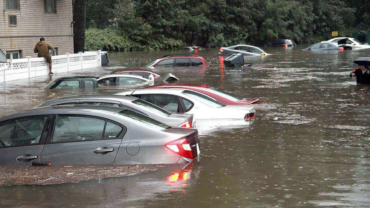 This contributed photo, taken by Daniel Morcarski, showed the extensive flooding on CartrightStreet in Bridgeport, Conn., on Sept. 25, 2018.