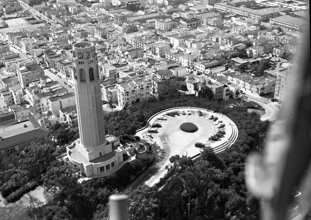 An aerial view of †Coit †Tower from a helicopter, 1952.