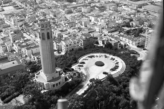 Aerial view�Coit�Tower from a helicopter, 1952