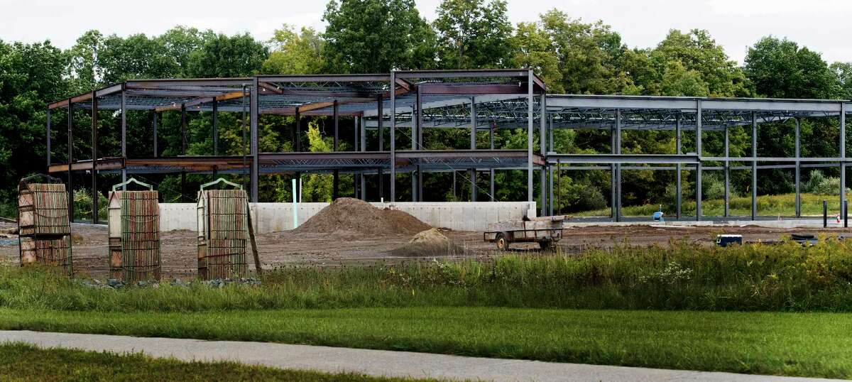 The construction site for Monolith Solar sits idle as the company lays off employees Wednesday Sept.26, 2018 in Slingerlands, N.Y. (Skip Dickstein/Times Union)