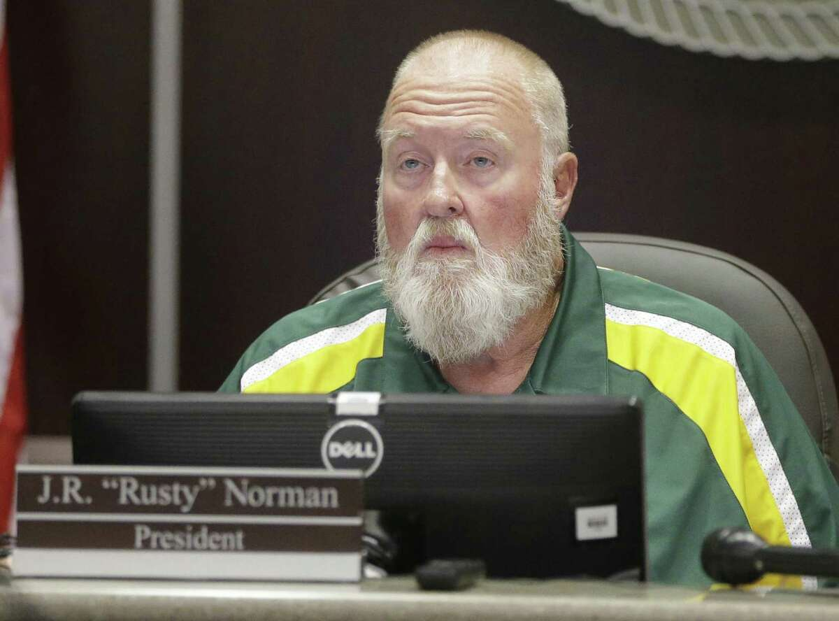 J. R. Rusty Norman, president, is shown during the Santa Fe ISD trustees meeting Monday, July 16, 2018, in Santa Fe.