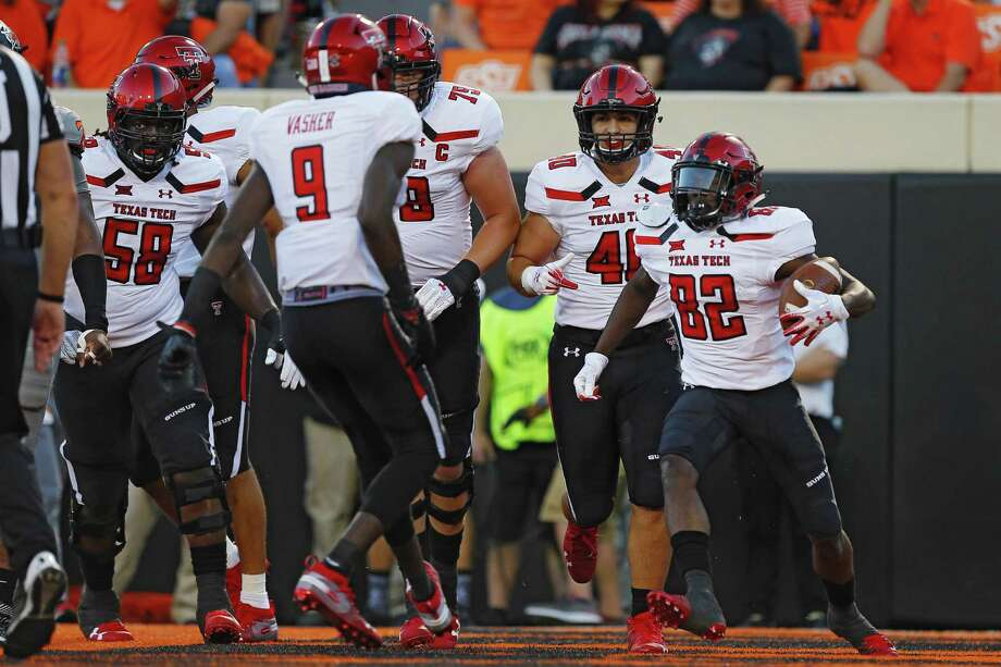 Wide receiver KeSean Carter (82) of the Texas Tech Red Raiders celebrates a touchdown against the Oklahoma State Cowboys in the second quarter on September 22, 2018 at Boone Pickens Stadium in Stillwater, Oklahoma. Photo: Brian Bahr, Stringer / Getty Images / 2018 Getty Images