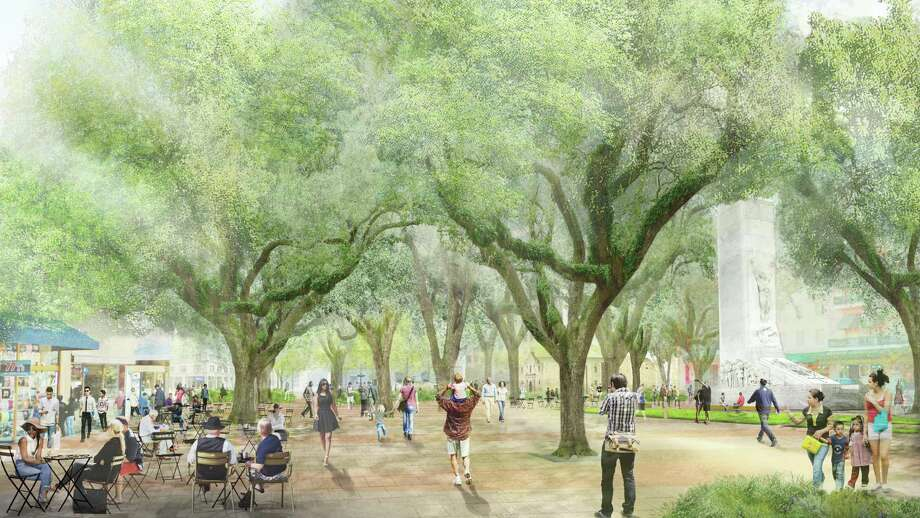 The master plan for Alamo plaza proposes repairing the Cenotaph and moving it about 500 feet south. Photo: Illustration By Reed Hilderbrand