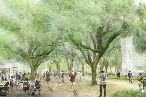 The master plan for Alamo plaza proposes repairing the Cenotaph and moving it about 500 feet south.