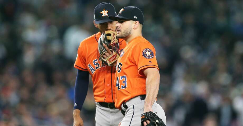 NEW YORK, NY - OCTOBER 17:  Carlos Correa #1 and Lance McCullers Jr. #43 of the Houston Astros huddle on the field during Game 4 of the American League Championship Series against the New York Yankees at Yankee Stadium on Tuesday, October 17, 2017 in the Bronx borough of New York City. (Photo by Rob Tringali/MLB Photos via Getty Images) Photo: Rob Tringali/MLB Photos Via Getty Images