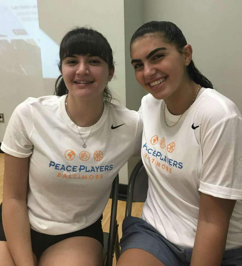Peace players Jenan Maharmeh, 17, left, and Noga Tal, 15, both of Jerusalem, played against St. Luke's in a goodwill game on Sept. 26 in New Canaan. Photo: Jeff Jacobs / Hearst Connecticut Media / Greenwich Time Contributed