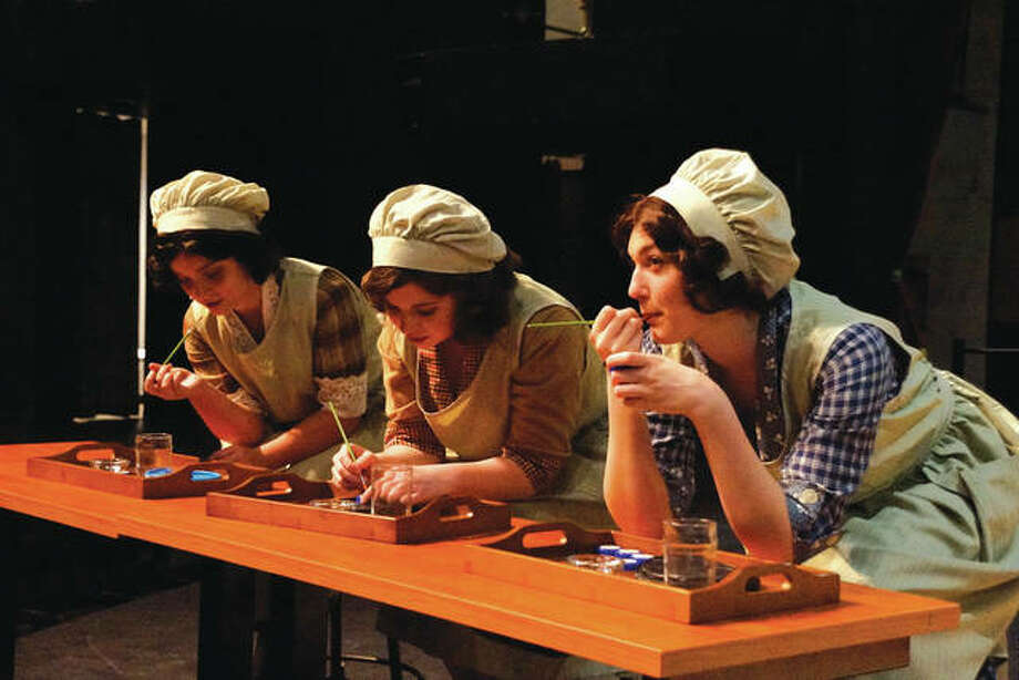 "Pictured from left are ""Radium Girls"" cast members: Sadie Harvey, Rhiannon Creighton and Clara Parker. Photo: Valerie Goldston"