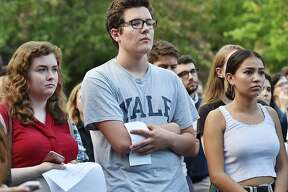 Yale University students held a rally at the Women's Table on campus protesting the appointment of Judge Brett Kavanaugh to become an Associate Justice of the Supreme Court due to allegations of misconduct.