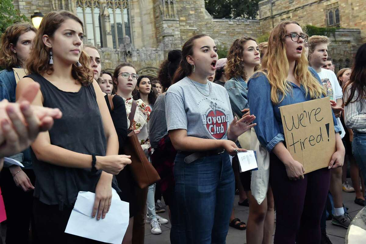 Yale University students attend a rally at the Women's Table on campus on Elm Street in New Haven Wednesday, September 26, 2018, protesting the nomination of the conservative appellate-court judge Brett Kavanaugh to the Supreme Court due to allegations of misconduct. Kavanaugh graduated from Yale in 1987 with a Bachelor of Arts and Yale Law School in 1990.
