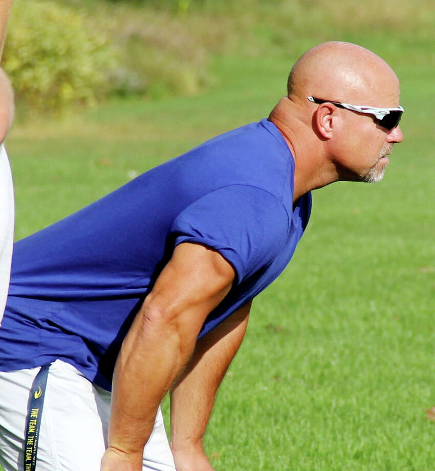 Long time Cass City head football coach Scott Cuthrell is seen her during practice on Tuesday. This week, he received the Detroit Lions/Farm Bureau Insurance Coach of the Week. (Mike Gallagher/Huron Daily Tribune)