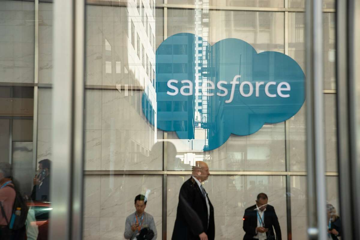 Lobby of the Salesforce Tower during their convention at the Moscone Center on Wednesday, Sept. 26, 2018, in San Francisco, CA.