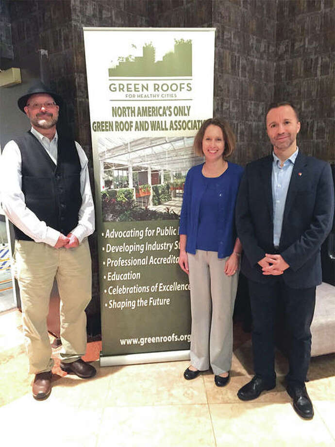 From left are: SIUE's Bill Retzlaff, Susan Morgan and Serdar Celik attended the CitiesAlive 16th Annual Green Infrastructure Conference where SIUE was announced as a Living Architecture Regional Center of Excellence. Photo: SIUE Photo