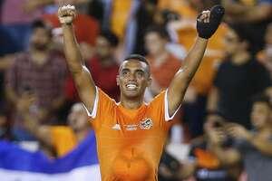 Houston Dynamo forward Mauro Manotas (9) celebrates as the Houston Dynamo beat the Philadelphia Union 3-0 to win the 2018 Lamar Hunt U.S. Open Cup Final at BBVA Compass Stadium Wednesday Sept. 26, 2018 in Houston.