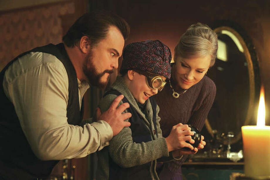 "This image released by Universal Pictures shows Jack Black, from left, Owen Vaccaro and Cate Blanchett in a scene from ""The House With A Clock in Its Walls."" Photo: Associated Press"