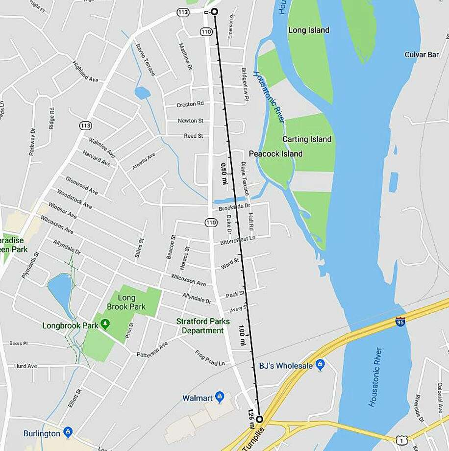 A milling and repaving project for a 1.3-mile stretch of Route 110 9in Stratford will begin on Monday, Oct. 1 and end on Tuesday, Oct. 9, 2018. The work will be done on a heavily traveled section of Route 110: from Route 1 (Barnum Avenue) to Route 113 (Main Street). Photo: Google Maps