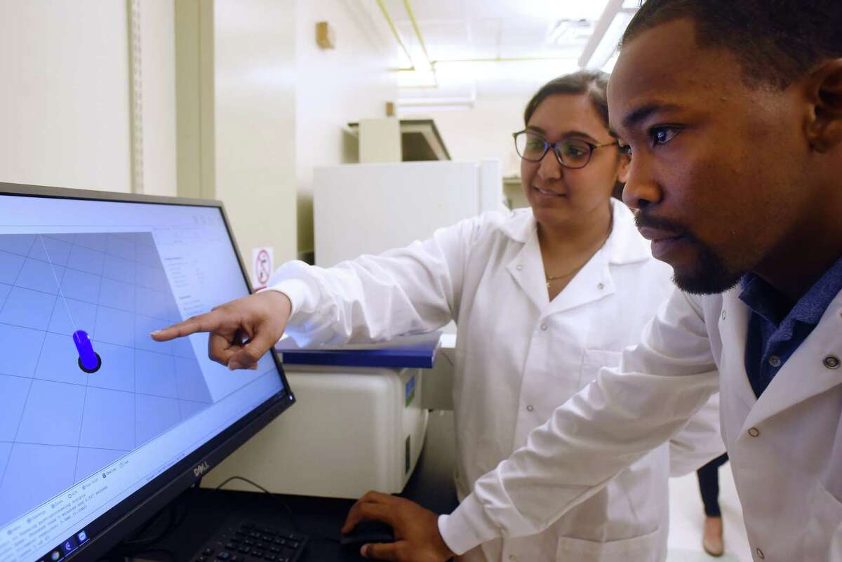 Joshua Gale (right) and Priya Jain look over a computer model of a 3D-printed biodegradable polymer implant. It would contain cancer medication and would be inserted directly into a tumor to destroy it.